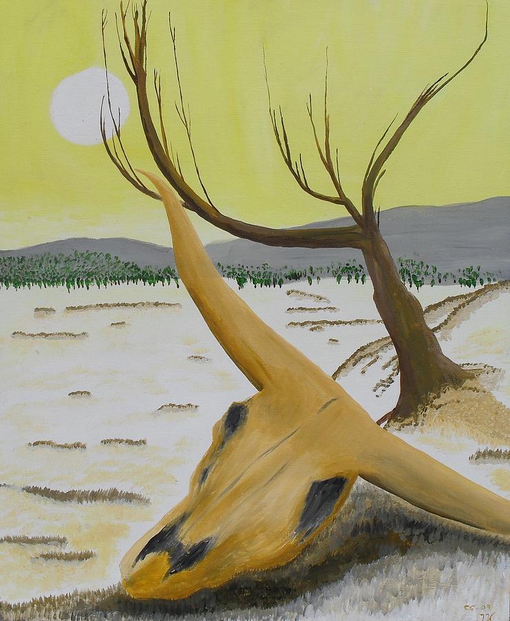 Acrylic Painting - Desert Skull by M Valeriano