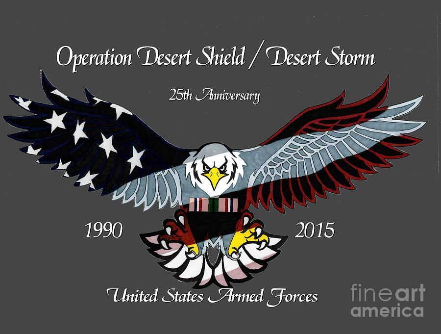 Veterans Drawing - Desert Storm 25th Anniversary by Bill Richards