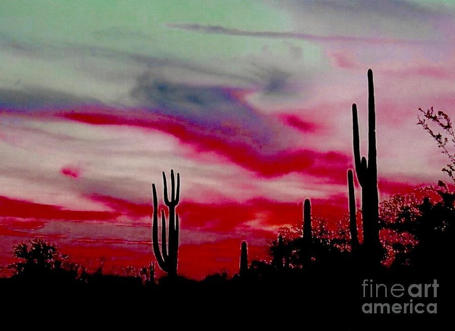 Desert Sunset Northern Lights Version Photograph