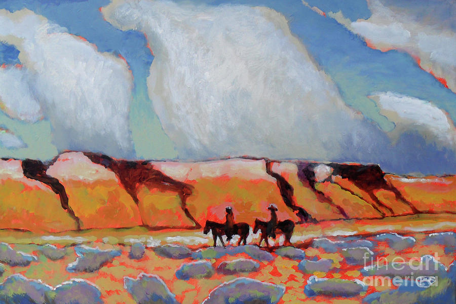Image of: Couple Colorful Painting Desert Travelers By Kip Decker Fine Art America Desert Travelers Painting By Kip Decker