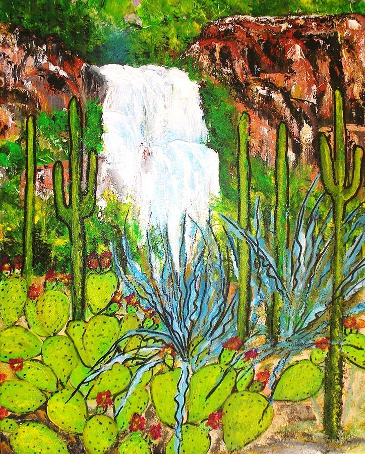 Landscapes Painting - Desert Waterfall Arizona by Hannelore Amon