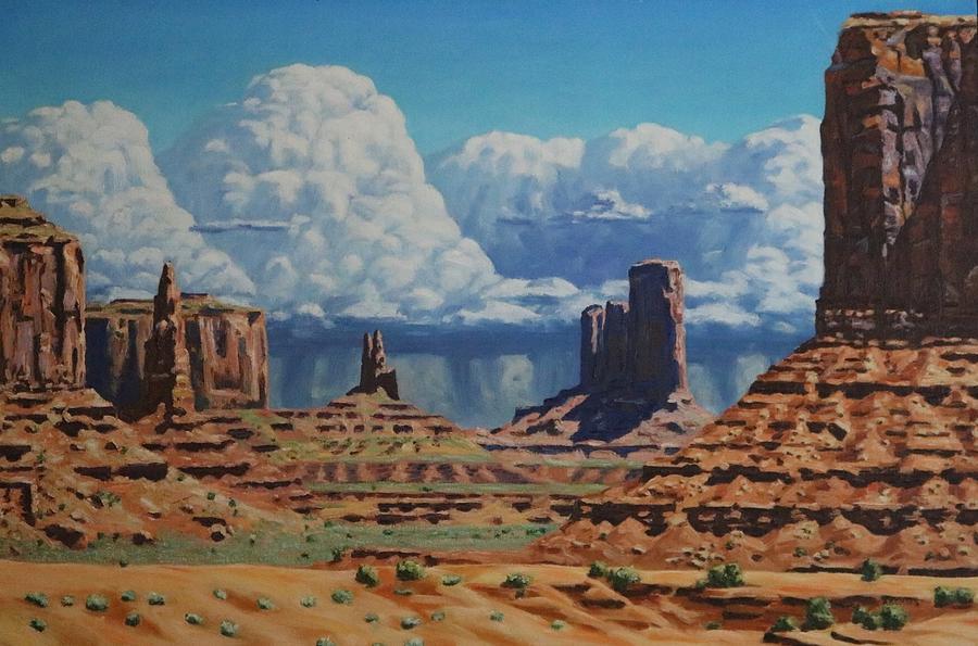 Landscape Painting - Rainstorm Over Monument Valley by Allen Kerns