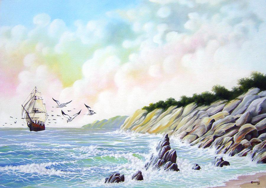 Marine Painting - Deserted Beach by Antonio Gomes Comonian