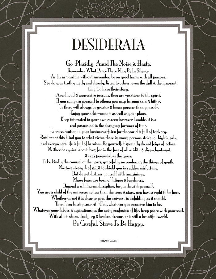 photograph regarding The Desiderata Poem Printable identified as Desiderata Black Swirl Sans