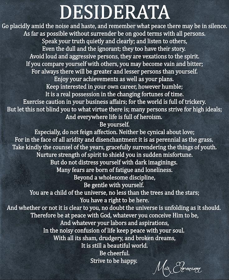 Desiderata Poem Digital Art - Desiderata Poem Cool Blue by Dan Sproul