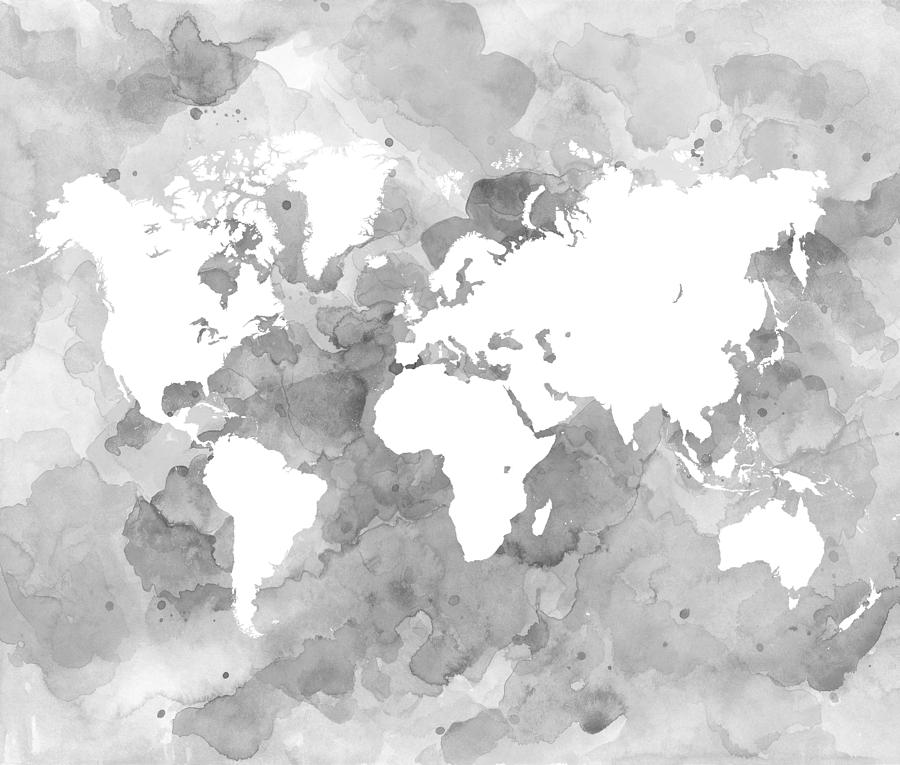 Design 49 world map grayscale digital art by lucie dumas world digital art design 49 world map grayscale by lucie dumas gumiabroncs Gallery