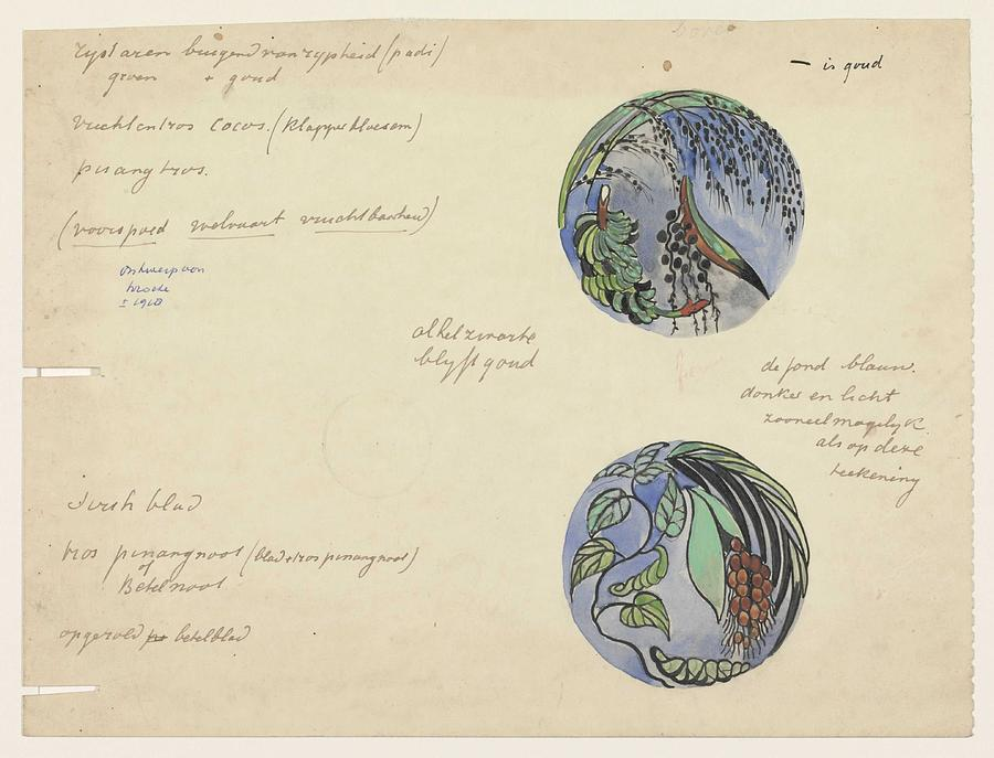 Pattern Painting - Design For A Brooch With Oriental Fruits, Carel Adolph Lion Cachet, C. 1874 - C. 1945 by Carel Adolph Lion Cachet