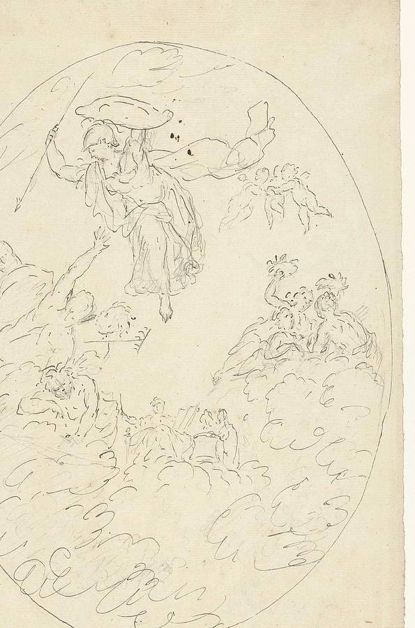 Pattern Painting - Design For A Ceiling Painting With A Triumph Of Minerva, In Oval, Dionys Van Nijmegen Possibly, 17 by Dionys van Nijmegen