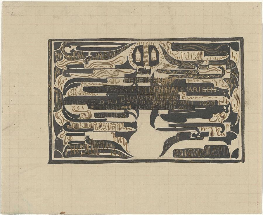 Pattern Painting - Design For A Charter On The Occasion Of Twelve-and-a-half-year Service, Carel Adolph Lion Cachet, 18 by Carel Adolph Lion Cachet