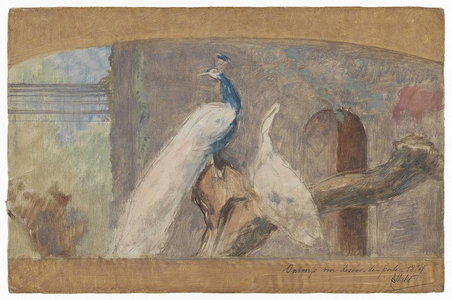 Pattern Painting - Design For A Dessus De Porte Branch With Peacock And Other Birds, August Allebe, 1874 by August Allebe