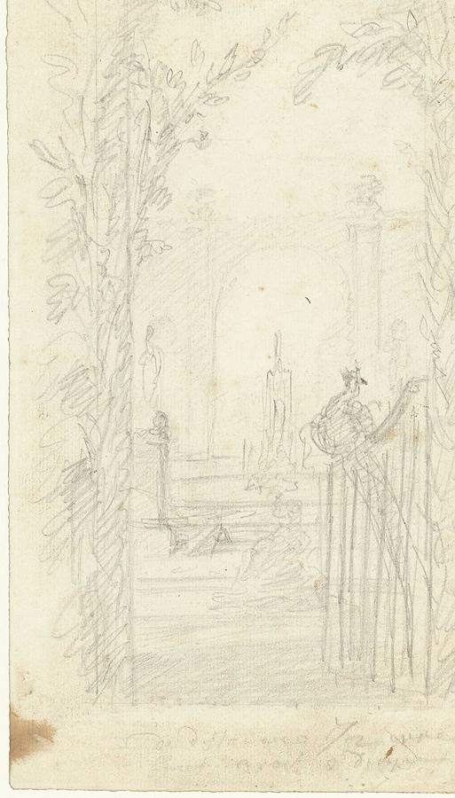 Nature Painting - Design For A Garden View With A Peacock On A Fence, Dionys Van Nijmegen Possibly, 1715 - 1798 by Dionys van Nijmegen