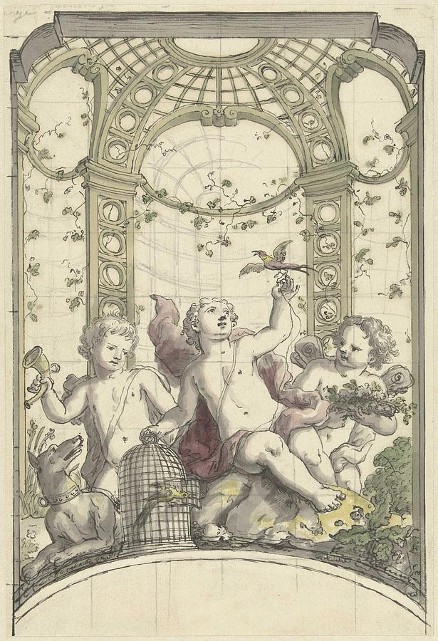 Pattern Painting - Design For A Gazebo Of Green Trellis, In Which Three Putti Play With Animals, Daniel Marot II, 170 by Daniel Marot II