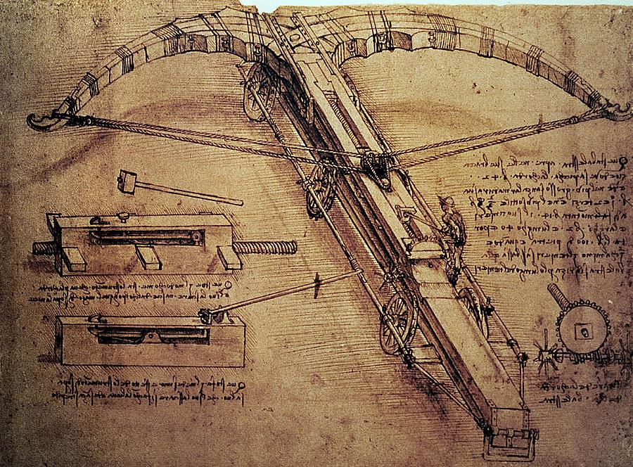 Design Painting - Design For A Giant Crossbow by Leonardo Da Vinci