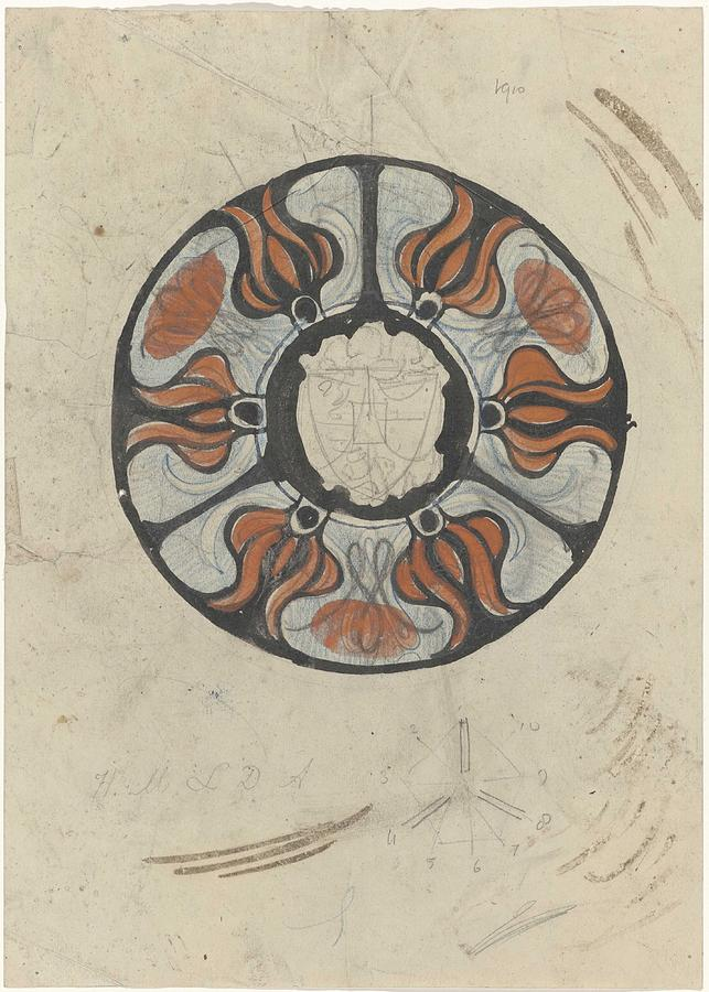 Pattern Painting - Design For A Memorial Plaque With W And A Coat Of Arms, Carel Adolph Lion Cachet, 1874 - 1945 by Carel Adolph Lion Cachet