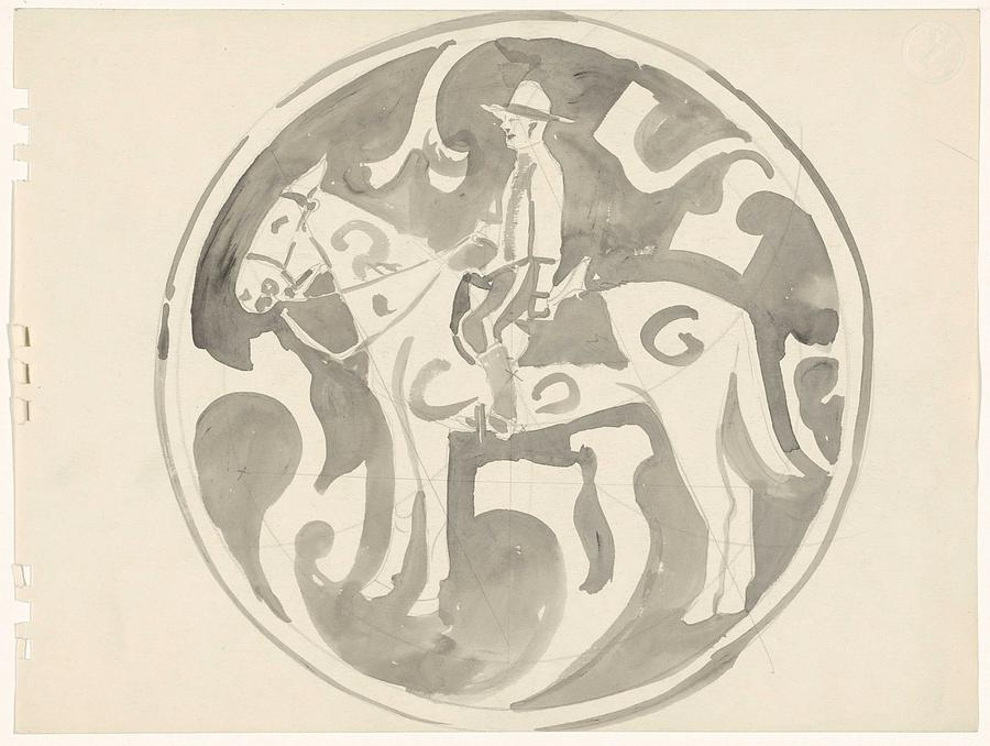 Pattern Painting - Design For A Plate With A Canadian Mountie, Carel Adolph Lion Cachet, 1874 - 1945 by Carel Adolph Lion Cachet