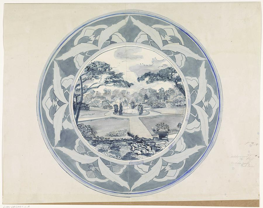 Pattern Painting - Design For A Plate With A Garden View, Carel Adolph Lion Cachet, 1874 - 1945 by Carel Adolph Lion Cachet