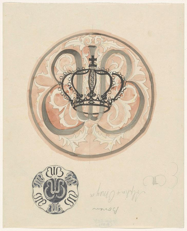 Pattern Painting - Design For A Plate With Crown And Monogram, Carel Adolph Lion Cachet, 1874 - 1945 by Carel Adolph Lion Cachet