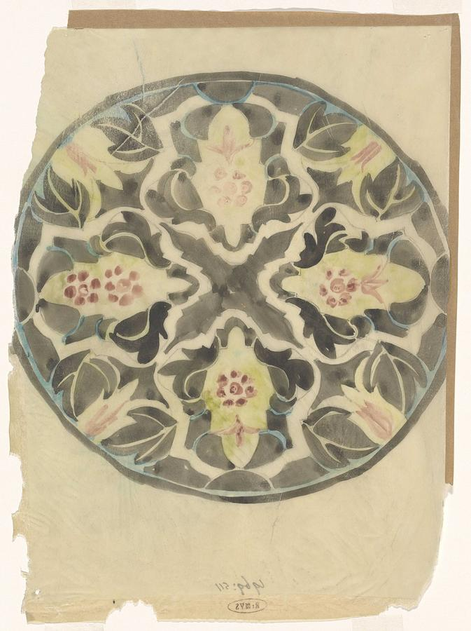 Pattern Painting - Design For A Plate With Floral Decoration, Carel Adolph Lion Cachet, 1874 - 1945 by Carel Adolph Lion Cachet