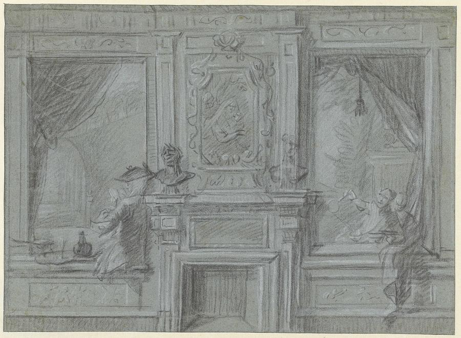 Nature Painting - Design For A Room Wall With A Chimney Piece And Paintings, Cornelis Troost, 1720 - 1750 by Cornelis Troost