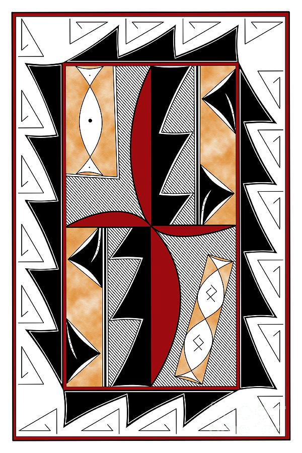 Southwest Digital Art - Southwest Collection - Design One In Red by Tim Hightower