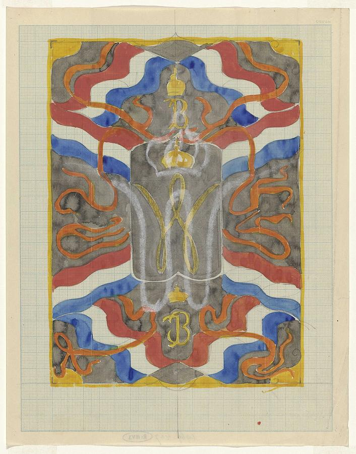 Design With Flags, Banners And A Crowned W And B, Carel Adolph Lion Cachet, 1874 - 1945 Painting