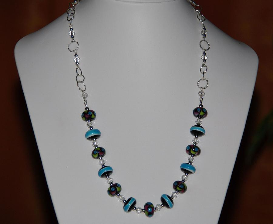 Jewelry Glass Art - Designer Lampwork And Rock Crystal Quartz Rondelles And Sterling Silver Necklace by Nadina Giurgiu