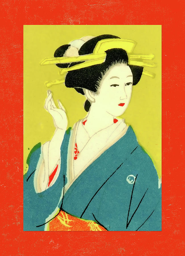 Japan Mixed Media - Designer Series Japanese Matchbox Label 128 by Carol Leigh