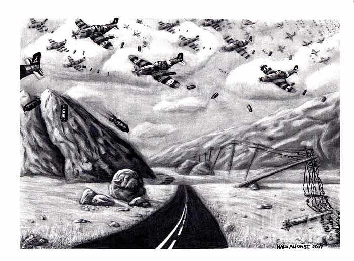 War Drawing - Desolate for Gunshy the Final piece by Katie Alfonsi