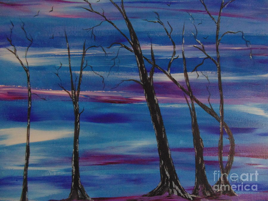 Trees Painting - Desolate Land by Ginny Youngblood