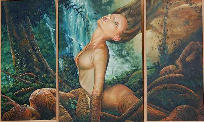 Triptico Painting - Despertar by Arnaldo Ladron de Guevara