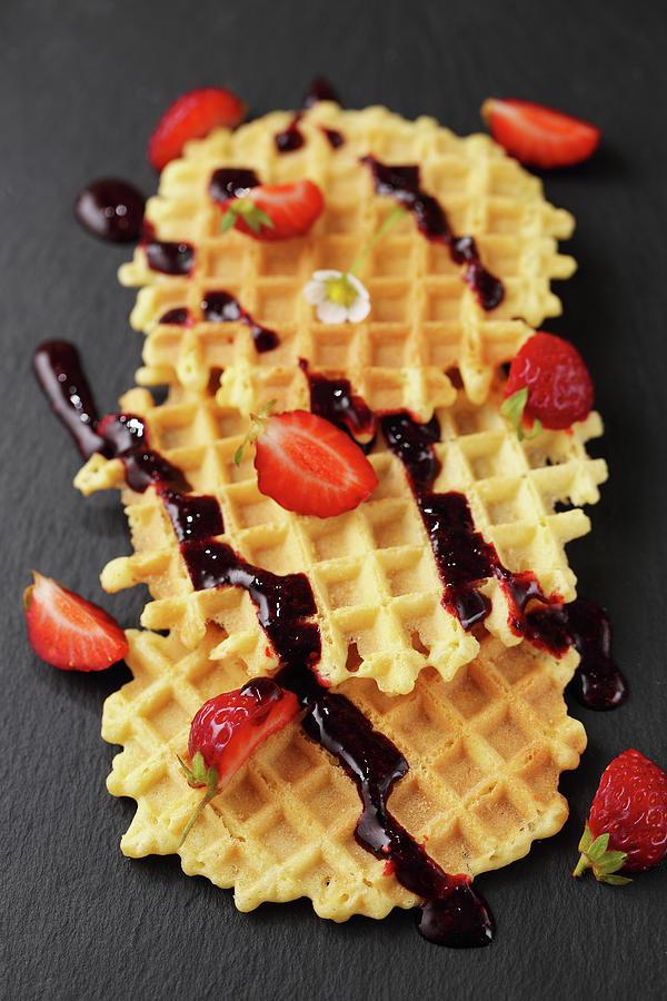 Dessert With Waffles Photograph