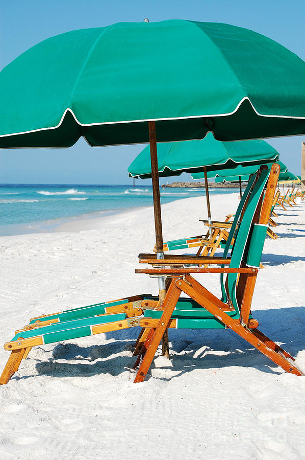 Destin Photograph   Destin Florida Beach Chairs And Green Umbrella Vertical  By Shawn OBrien
