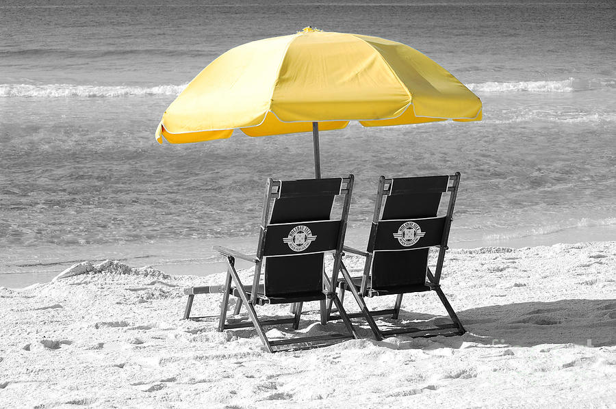 Destin photograph destin florida beach chairs and yellow umbrella color splash black and white by