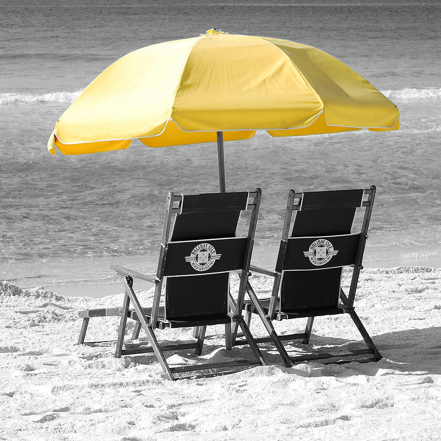 Destin Photograph   Destin Florida Beach Chairs And Yellow Umbrella Square  Format Color Splash Black And