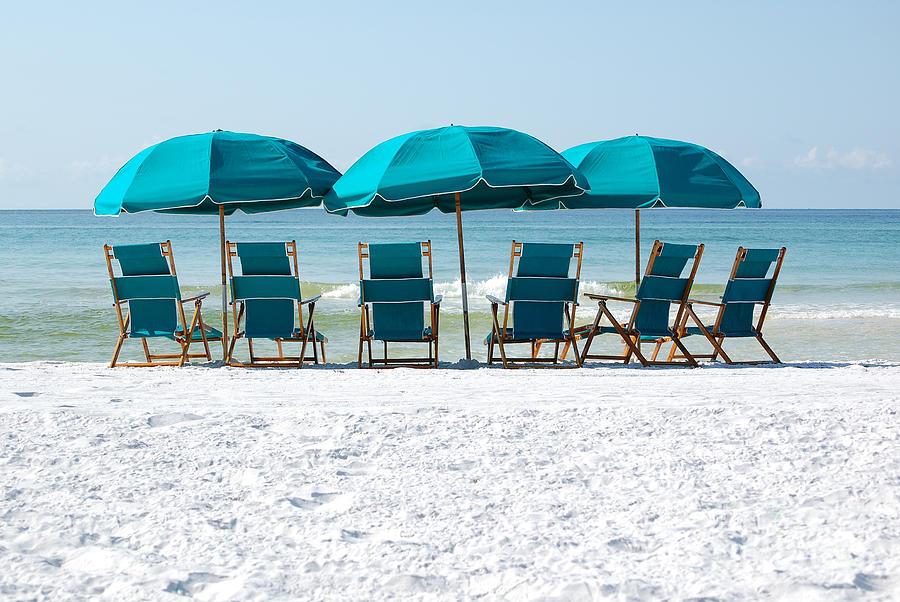 Destin Photograph   Destin Florida Six Beach Chairs And Three Umbrellas By  Shawn OBrien