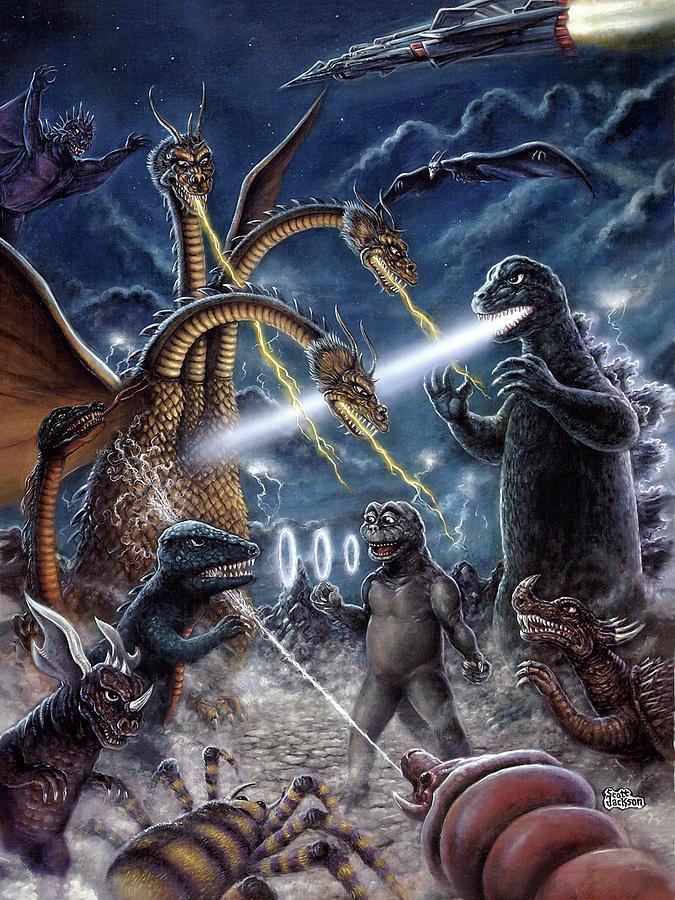 Art & Collectibles Painting - Destroy all Monsters Godzilla Kaiju battle Monster Island  by Scott Jackson