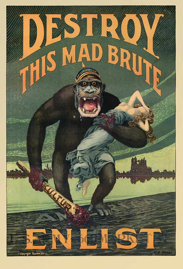 Destroy This Mad Brute - Wwi Army Recruiting Painting