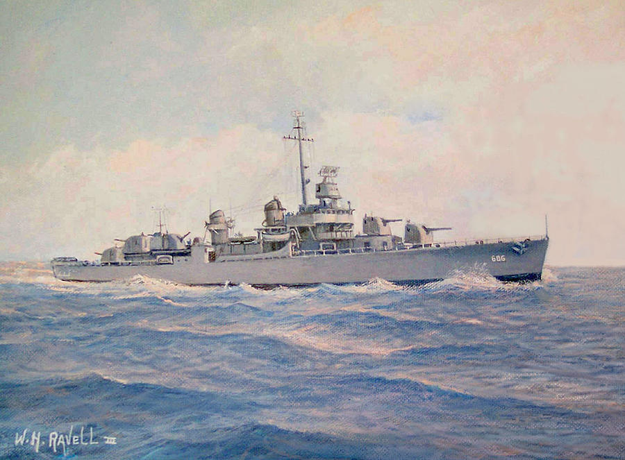 Ships Painting - Destroyer Halsey Powell by William Ravell