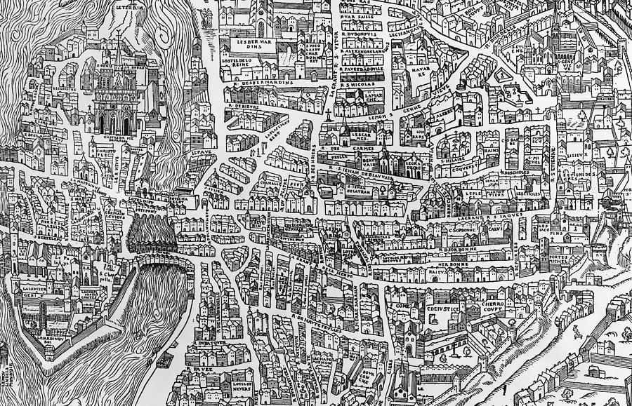 Maps Photograph - Detail From A Map Of Paris In The Reign Of Henri II Showing The Quartier Des Ecoles by French School