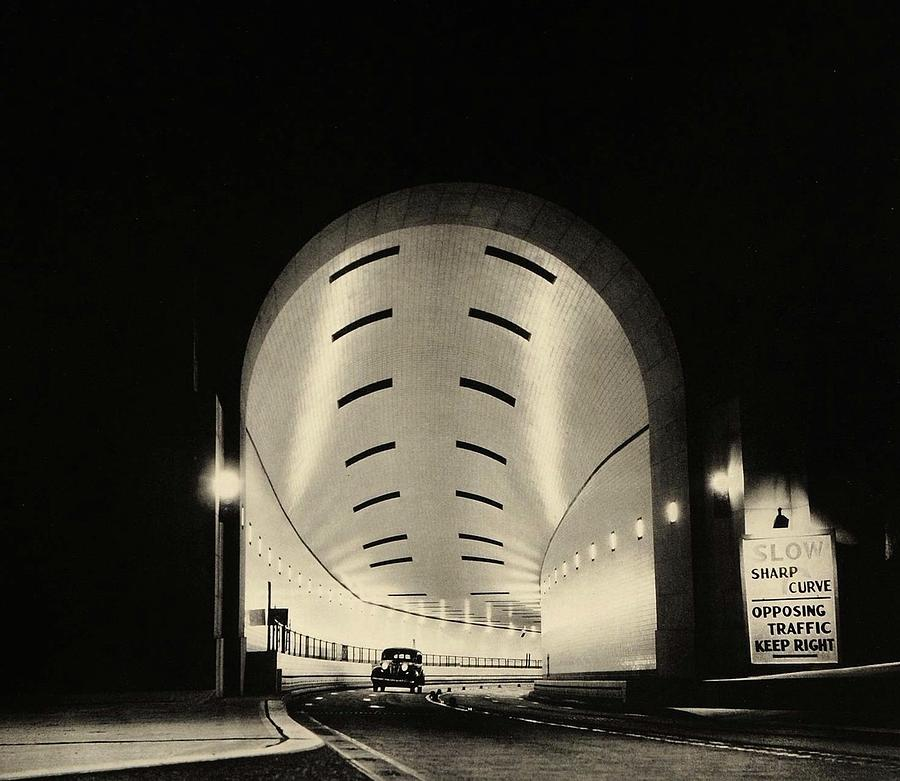 Detail From  Corning Glass Advertisement Lincoln Tunnel  New York City 1939 Photograph