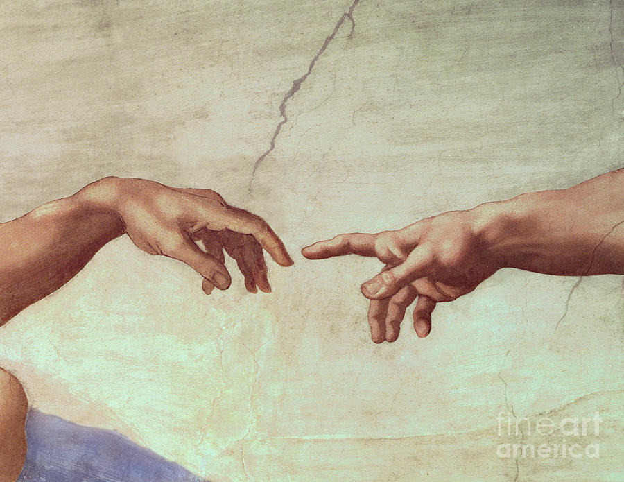 Hands Painting - Detail From The Creation Of Adam by Michelangelo