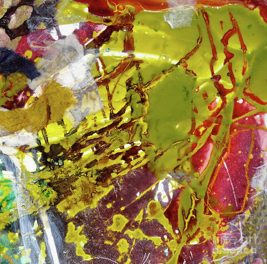 Mixed Media Painting - detail Frozen Fire I by Mickey Bond