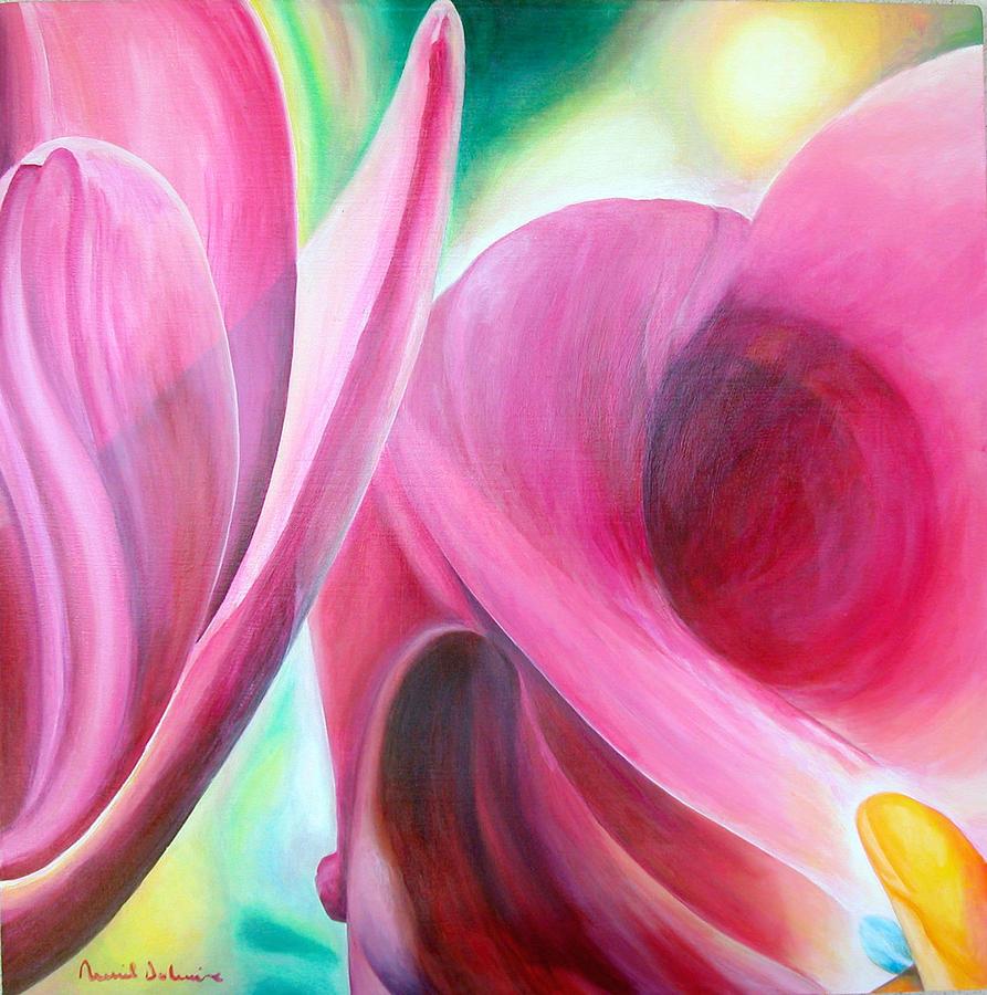 Fleurs Painting - Detail by Muriel Dolemieux