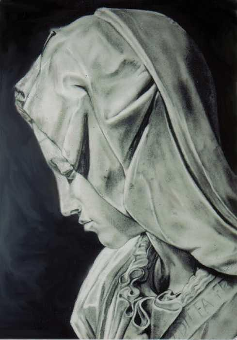 Italian Drawing - detail of   maryfrom sculpture Pieta by michelangelo by Toni Pocaro
