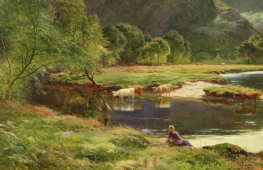 Percy Painting - Detail Of A Highland Loch Scene by Sidney Richard Percy