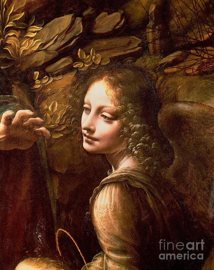 Detail Painting - Detail Of The Angel From The Virgin Of The Rocks  by Leonardo Da Vinci