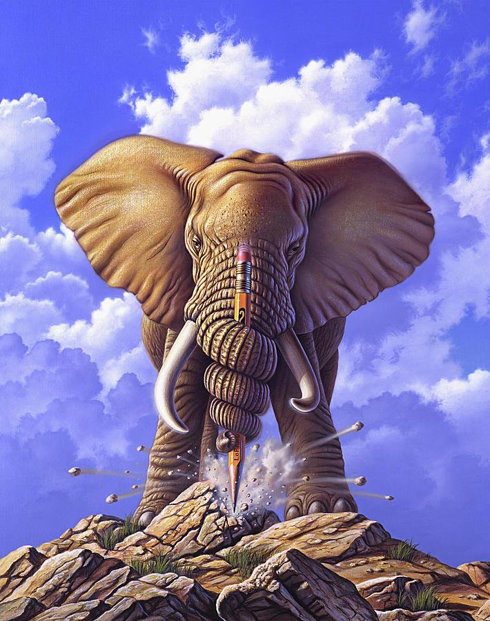 Elephant Painting - Determination by Jerry LoFaro