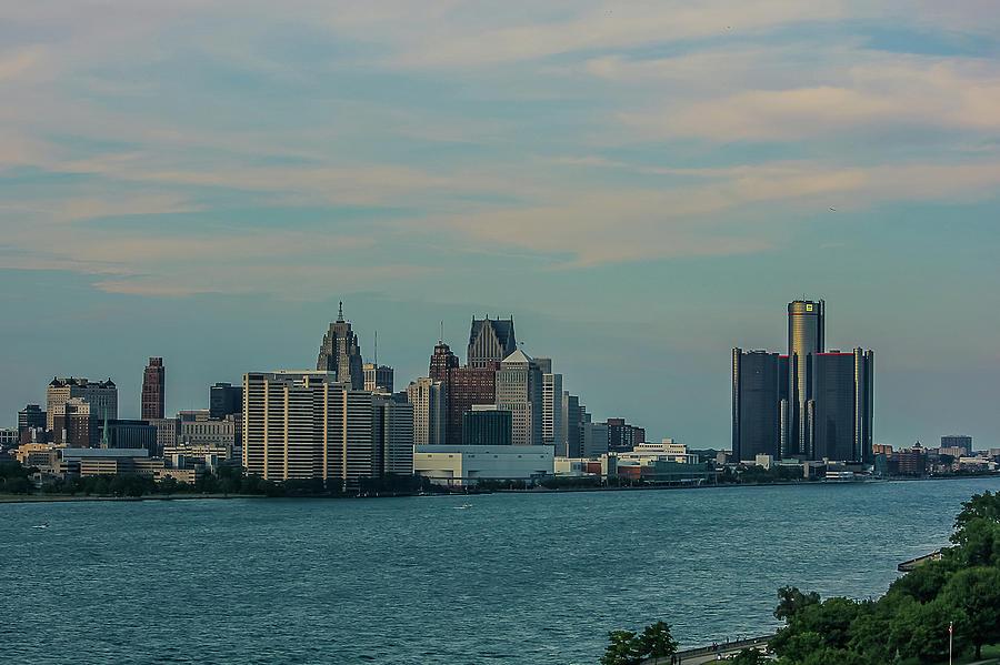 Detroit Photograph - Detroit city skyline from Canada bridge by Maxwell Dziku