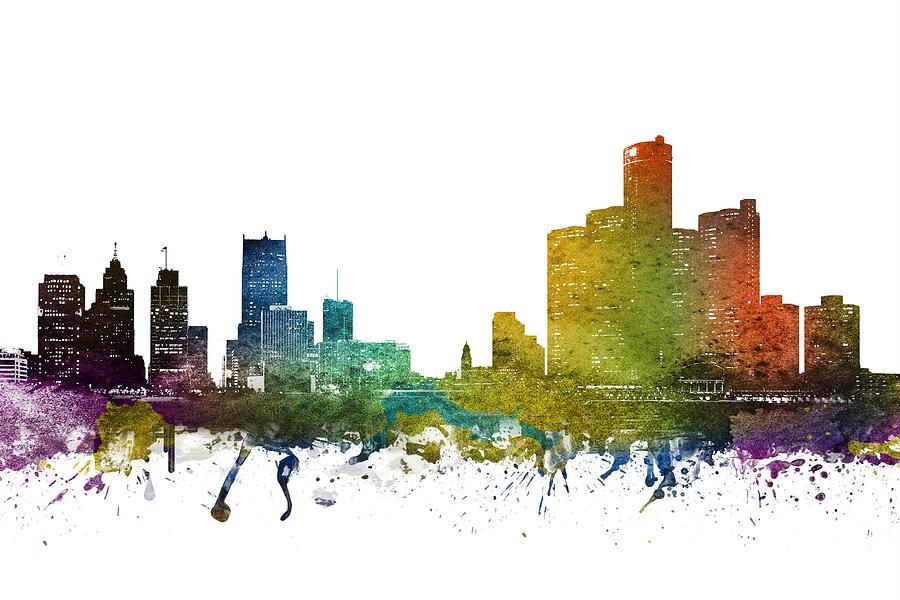 Detroit Digital Art - Detroit Cityscape 01 by Aged Pixel