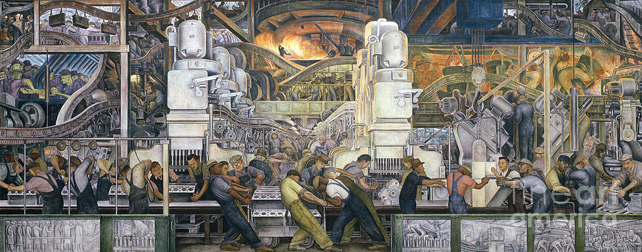 Motor Painting - Detroit Industry   North Wall by Diego Rivera